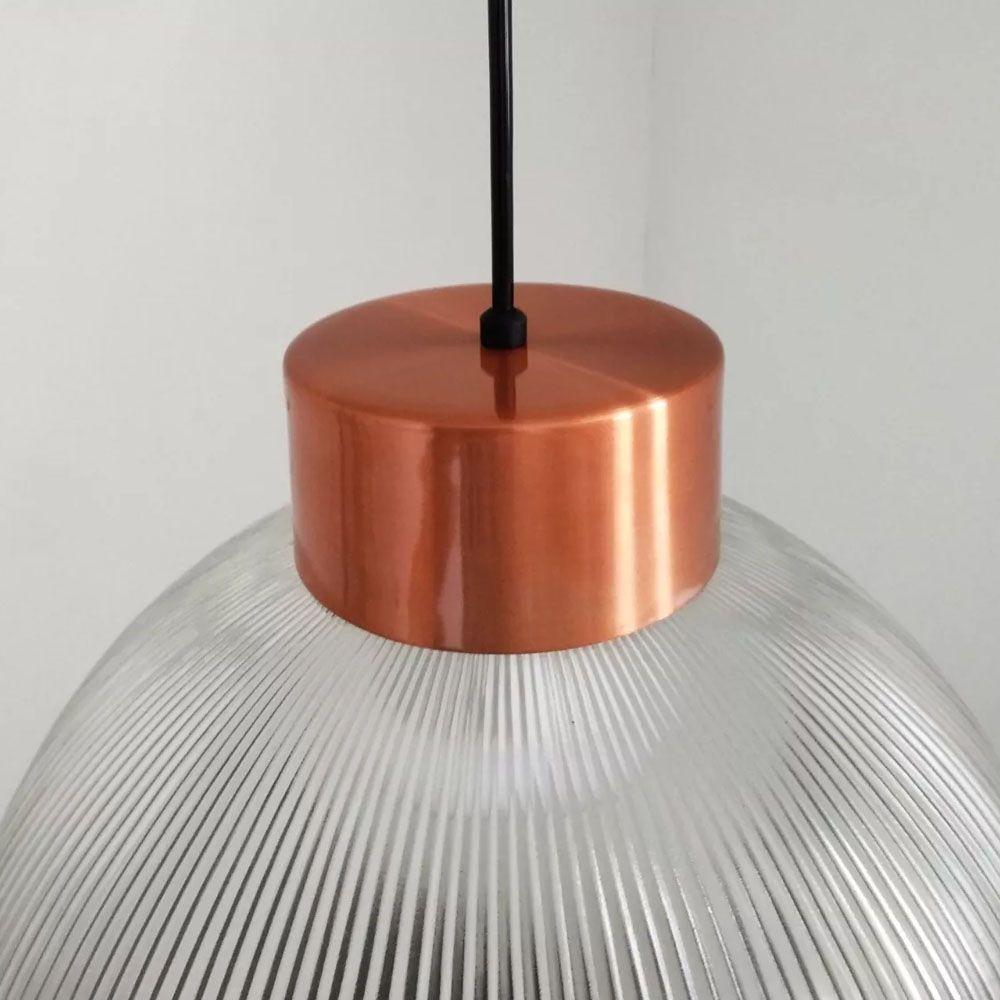 Luminária Pendente Prismático Vidro 35cm com Cobre