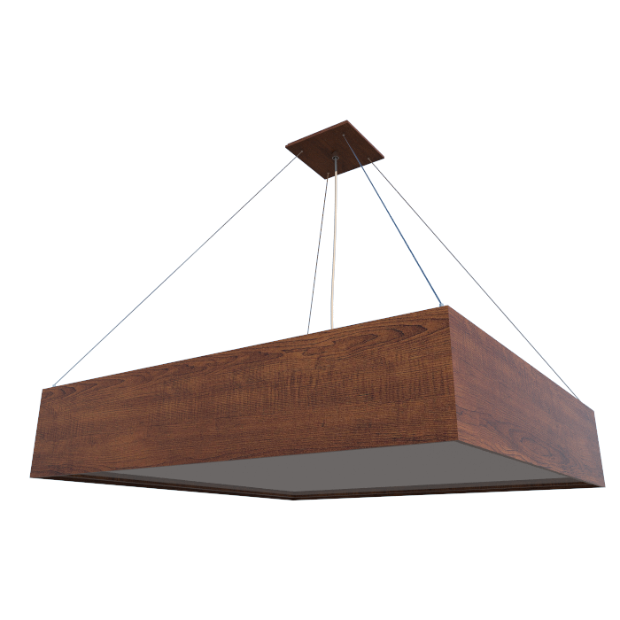 Luminária Pendente Quadrado 50x50cm em Madeira Imbuia