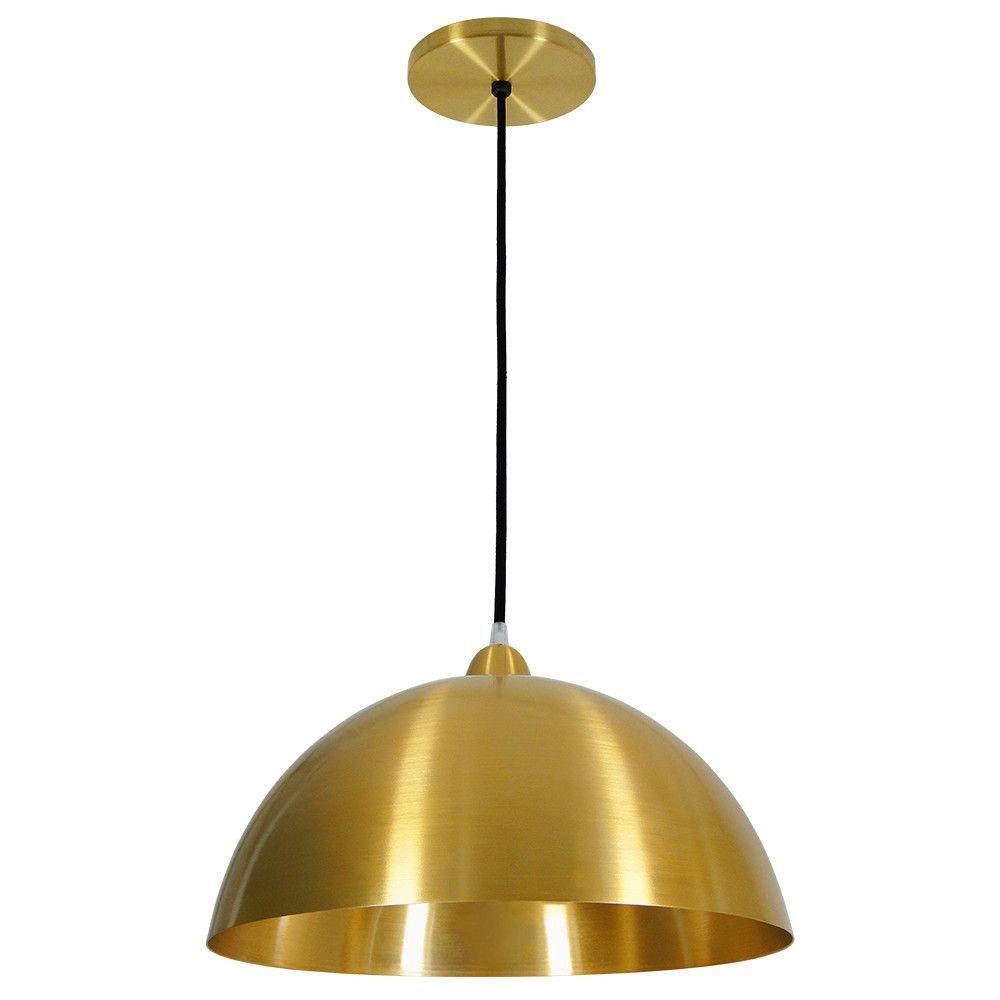 Luminária Pendente Redondo Meia Lua 37cm Aluminium Dourado