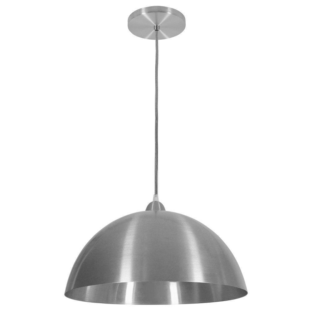 Luminária Pendente Redondo Meia Lua 37cm Aluminium Escovado
