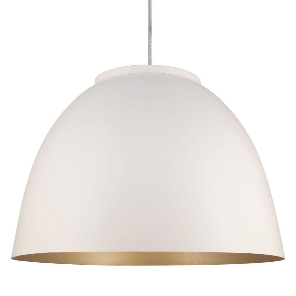 Luminária Pendente Redondo Meia Lua 45cm Branco Dourado Mate - TKS