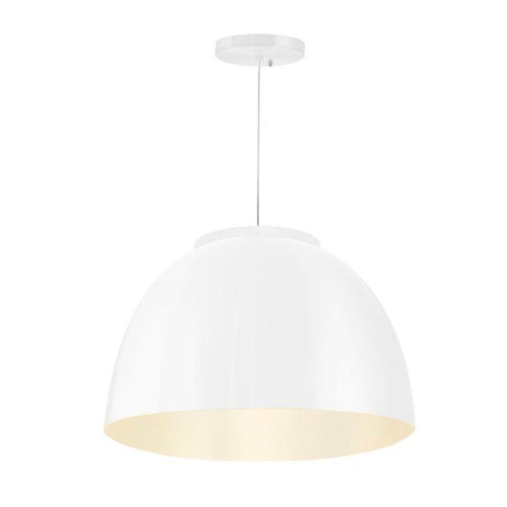 Luminária Pendente Redondo Meia Lua 45cm Aluminium Branco