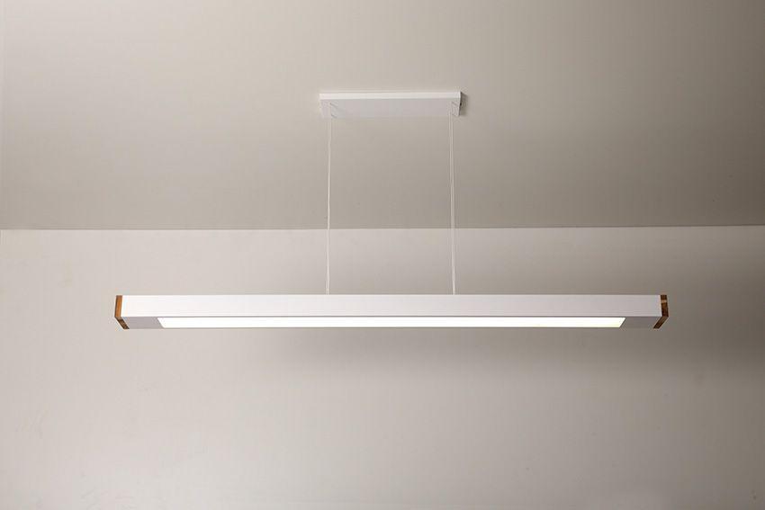 Luminária Pendente 2 Lâmp Retangular 125cm Alumínio Branco e Madeira Arky