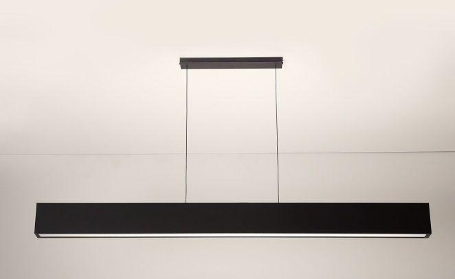 Luminária Pendente 1 Lâmp. Retangular 125cm Alumínio Preto Arky
