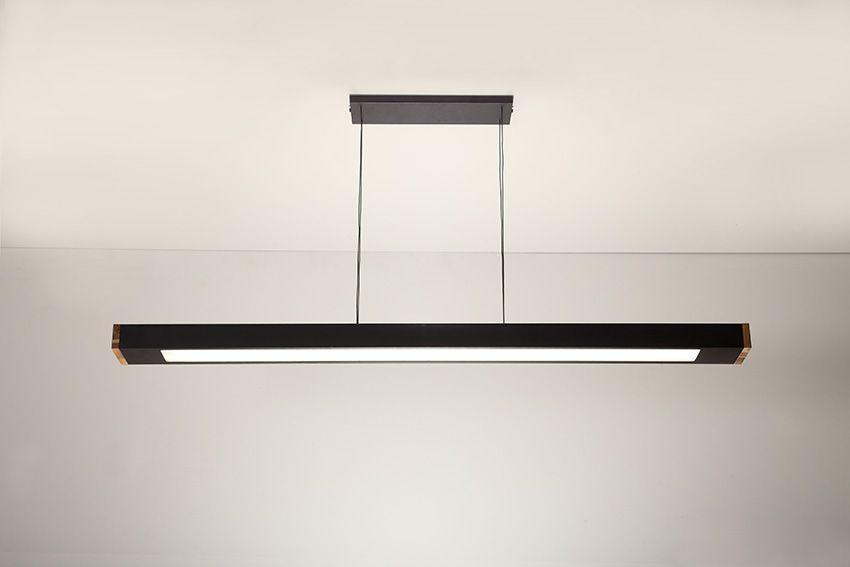 Luminária Pendente 2 Lâmp Retangular 125cm Alumínio Preto e Madeira Arky