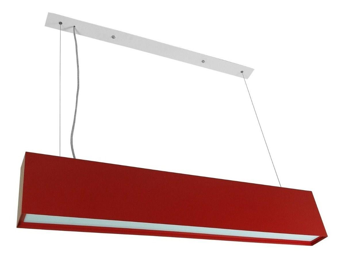 Luminária Pendente Retangular 2 Lâmp Box Aluminio Vermelho - TKS