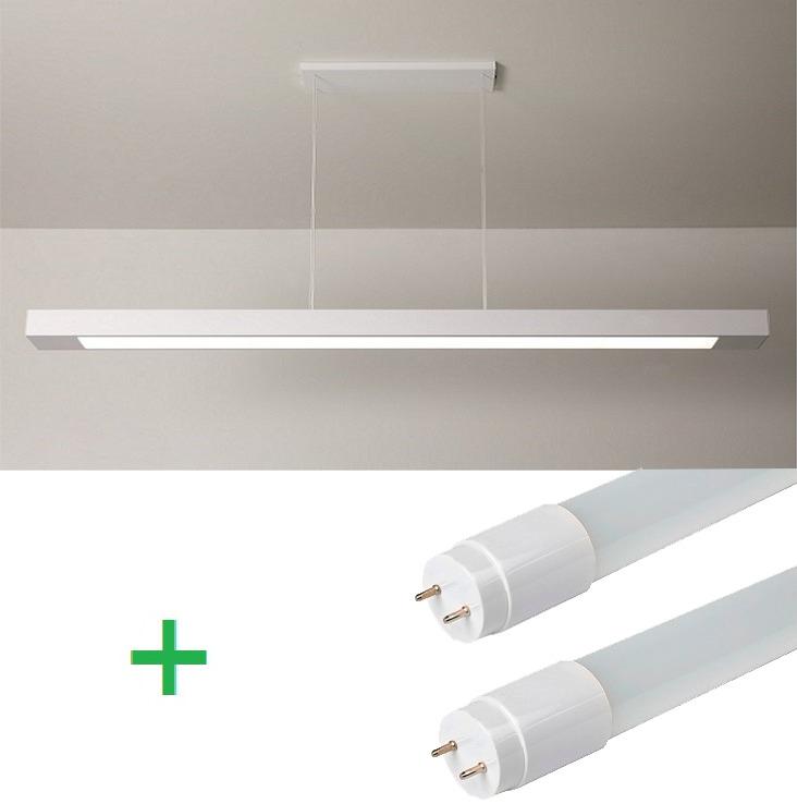 Luminária Pendente Retangular 65cm Branco + 2 Lâmpada TuboLED 9w