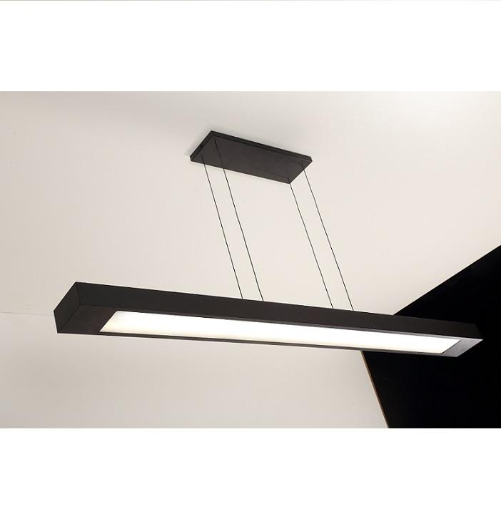 Luminária Pendente Retangular 65cm Preto + 2 Lâmpada TuboLED 9w