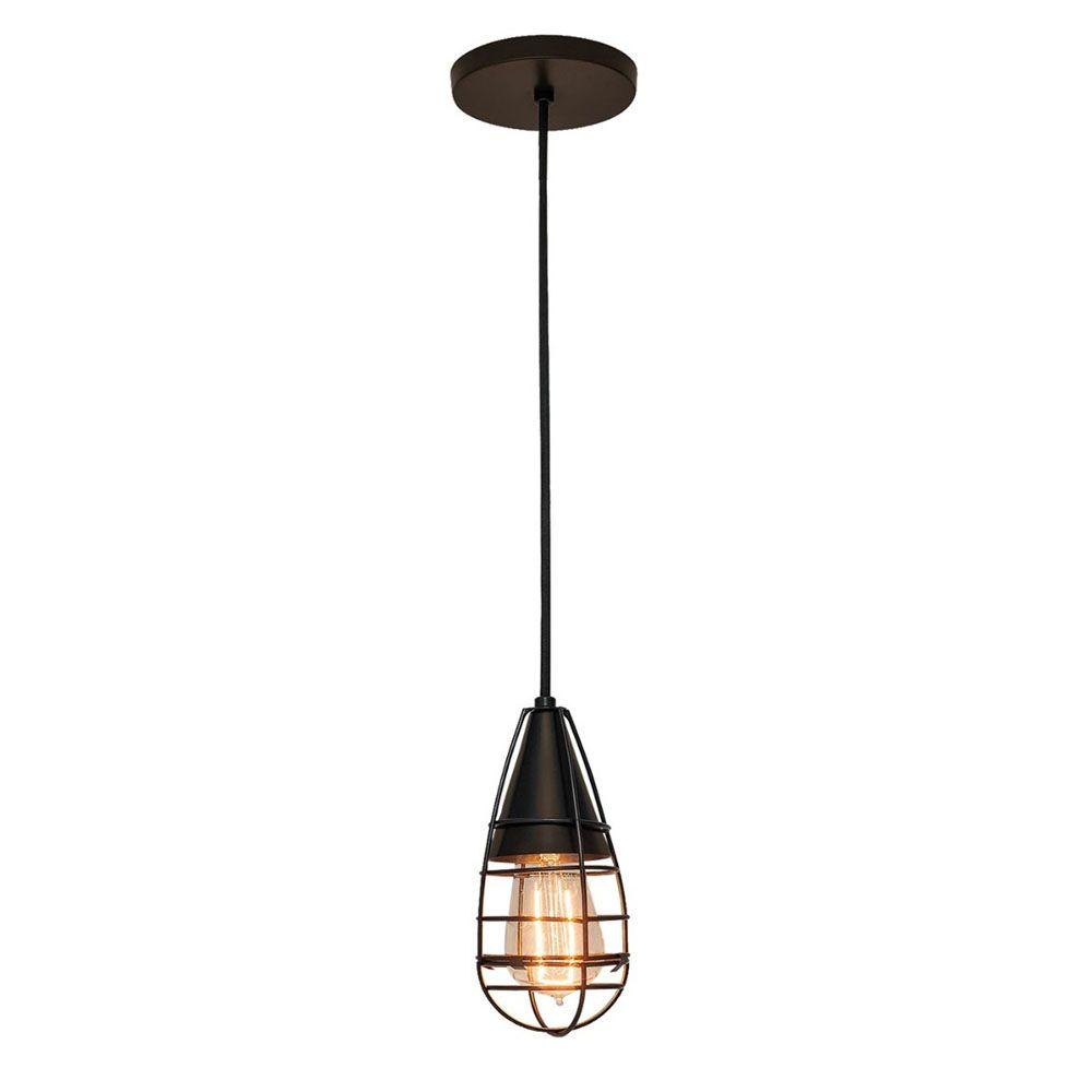 Luminária Pendente Retrô 9,5cm Aramado Marrom Texturizado - TKS