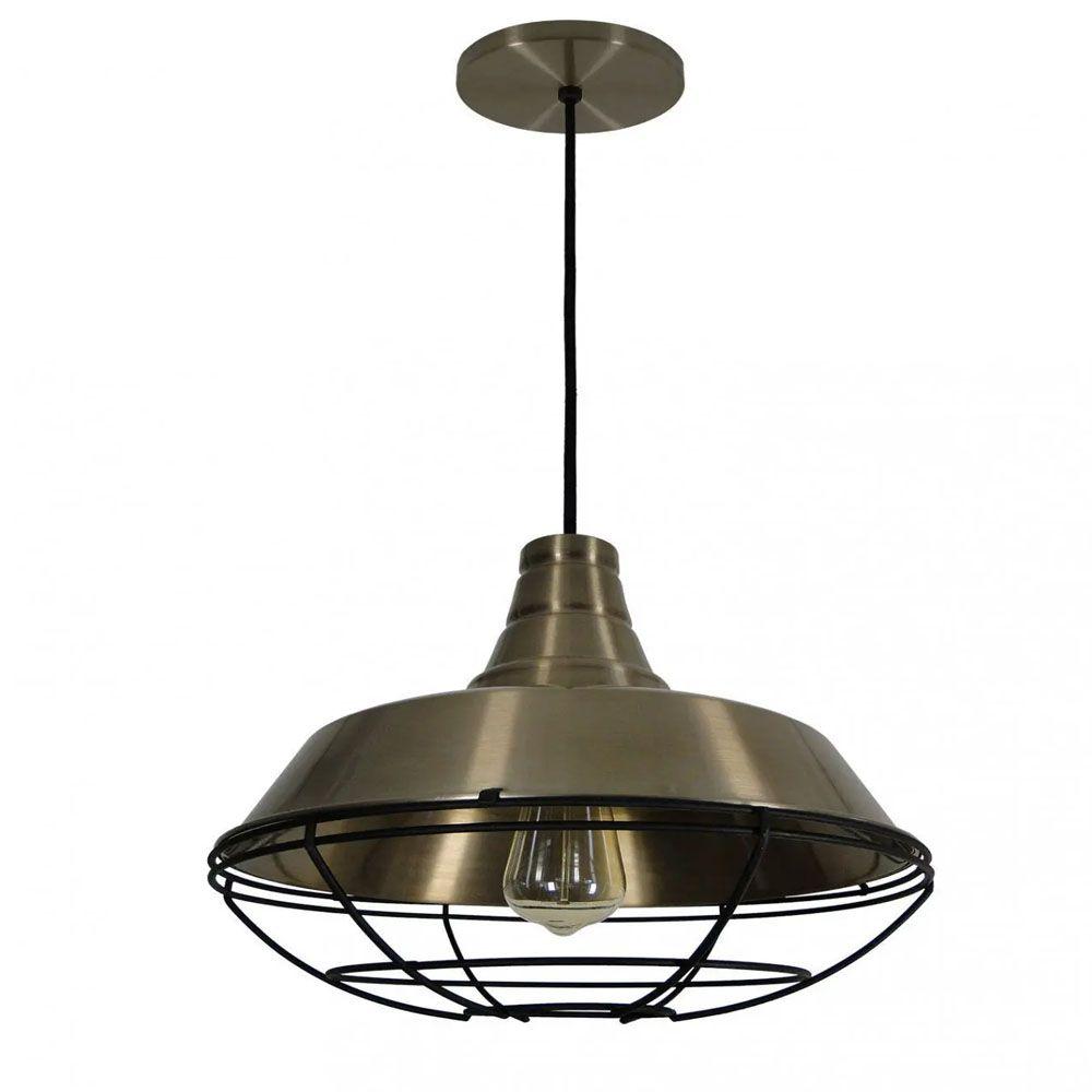 Luminária Pendente Retrô Industrial 30x36cm Aramado Bronze - TKS
