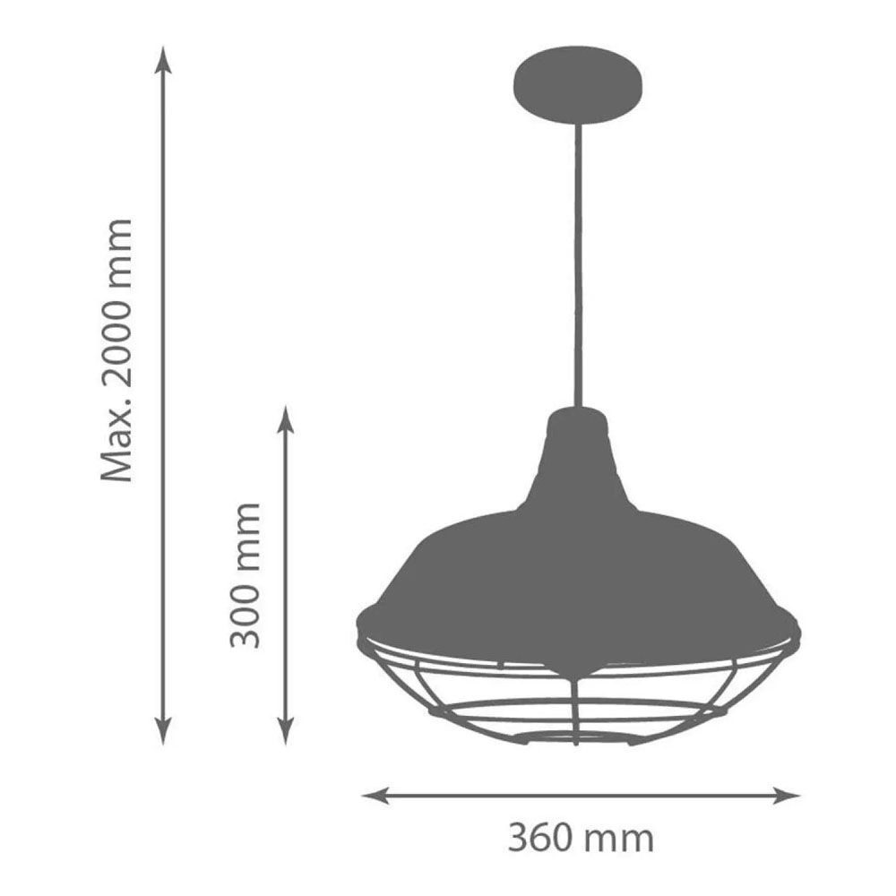 Luminária Pendente Retrô Industrial 30x36cm Aramado Cobre