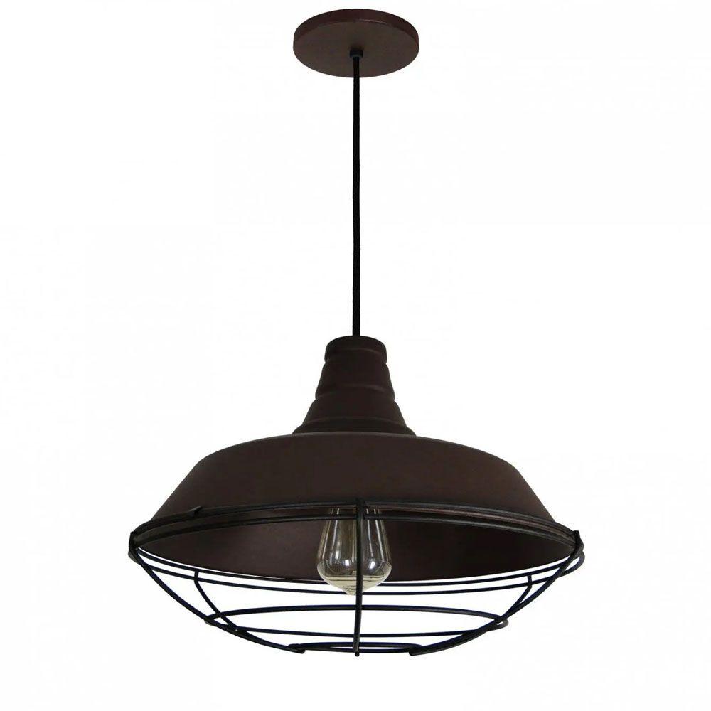 Luminária Pendente Retrô Industrial 30x36cm Aramado Marrom