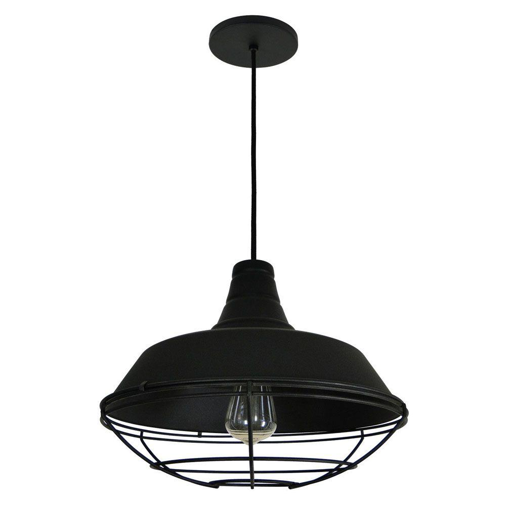 Luminária Pendente Retrô Industrial 30x36cm Aramado Preto