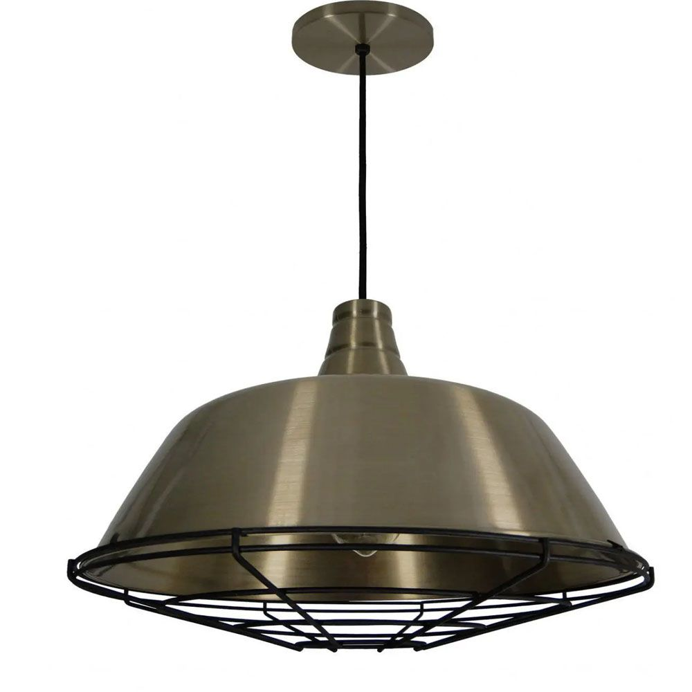 Luminária Pendente Retrô Industrial 32x44cm Aramado Bronze