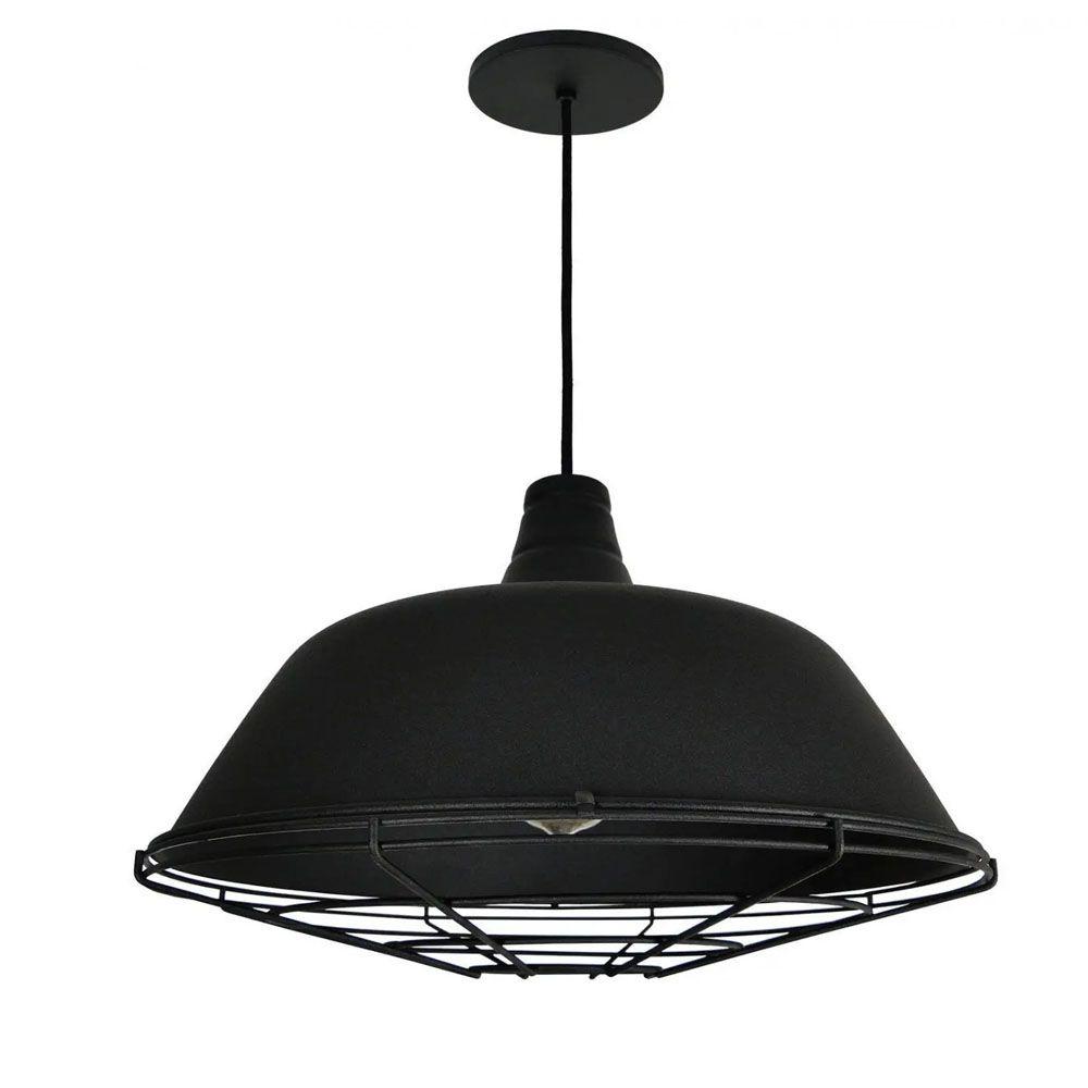 Luminária Pendente Retrô Industrial 32x44cm Aramado Preto - TKS