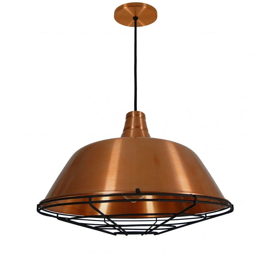 Luminária Pendente Retrô Industrial 32x44cm Aramado Cobre