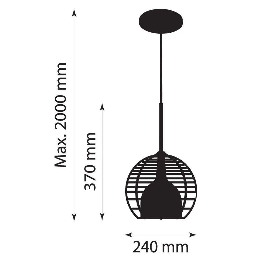 Luminária Pendente Taça 37x24cm Aramado Preto Text e Marrom - TKS