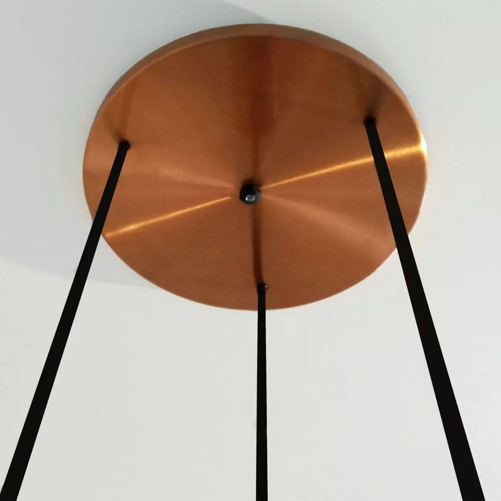Pendente Tubo Triplo 40cm 3 Lâmpadas Alumínio Cobre - TKS