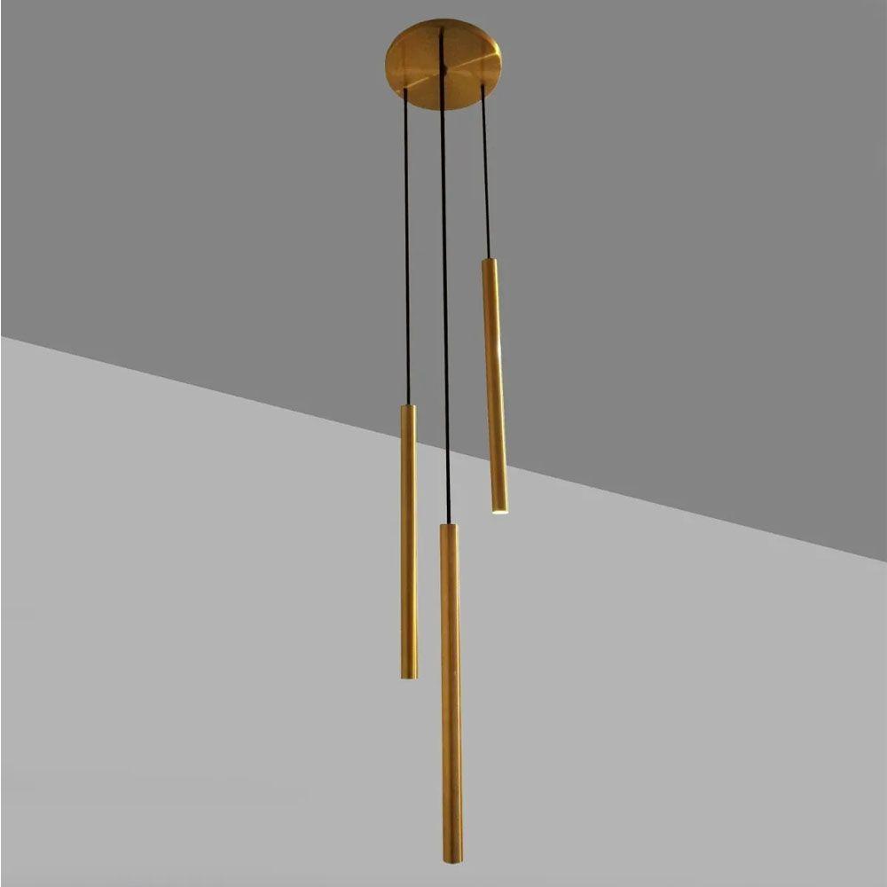Pendente Tubo Triplo 40cm 3 Lâmpadas Alumínio Dourado