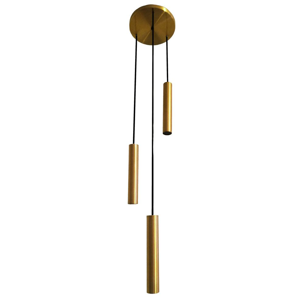 Pendente Tubo Triplo 20cm 3 Lâmpadas Alumínio Dourado