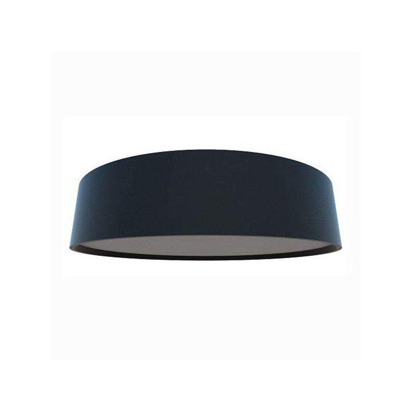 Luminária Plafon Cilíndrico 40x12cm Acrílico e Madeira Branco ou Preto