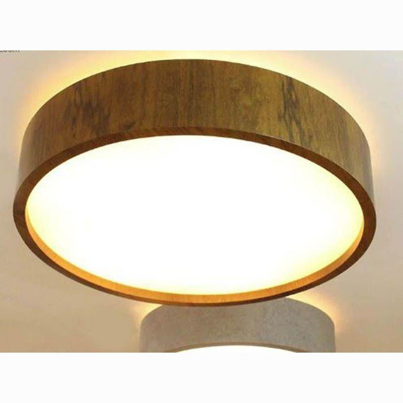 Luminária Plafon Redondo Cilíndrico 50cm Madeira e Acrílico