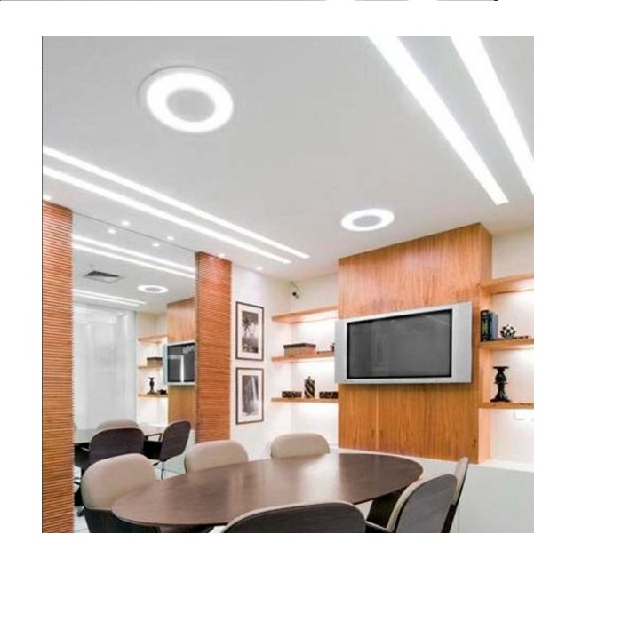 Luminária Plafon Embutir Luz Indireta 33cm Redondo 2xE27 Branco