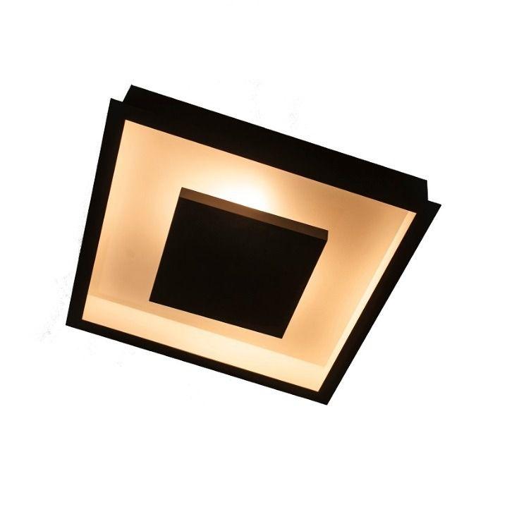 Luminária Plafon Luz Indireta Embutir 30x30cm 4 Lâmpadas Preto RL