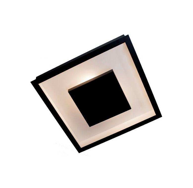 Luminária Plafon Luz Indireta Embutir 40x40cm 4 Lâmpadas Preto RL