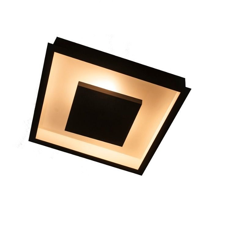 Luminária Plafon Luz Indireta Embutir 50x50cm 4 Lâmpadas Preto RL