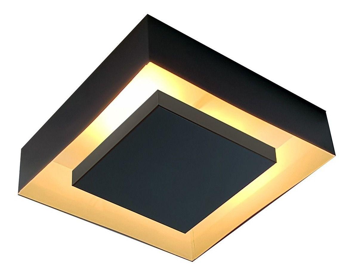 Luminária Plafon Luz Indireta Sobrepor 30x30cm 4 Lâmpadas Preto RL