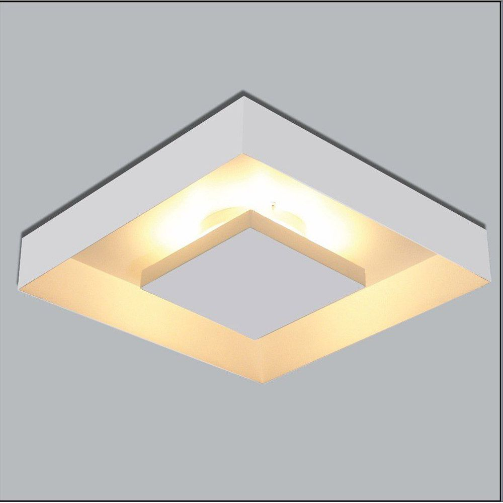 Luminária Plafon Luz Indireta Sobrepor 40x40cm 4 Lâmpadas Branco RL
