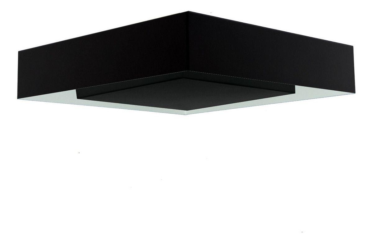 Luminária Plafon Luz Indireta Sobrepor 50x50cm 4 Lâmpadas Preto RL