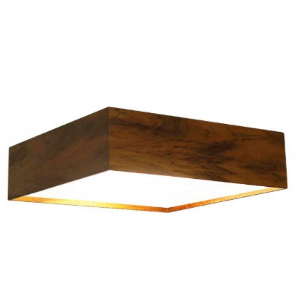 Luminária Plafon Sobrepor Quadrado 60x60cm Madeira Imbuia