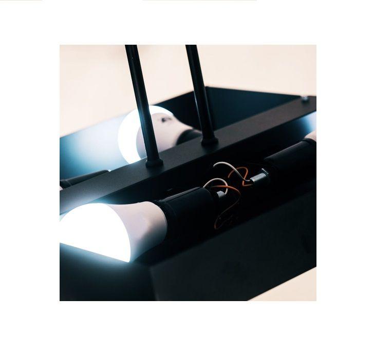 Luminária Plafon Rebatedor Luz Indireta 50cm 4 Lâmpadas Preto RL