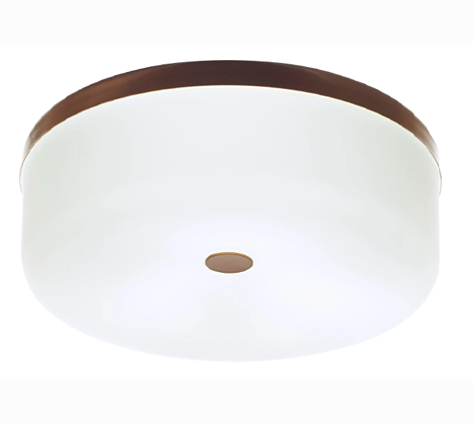 Luminária Plafon Redondo Cilíndro 40cm Metal e Vidro Madelustre
