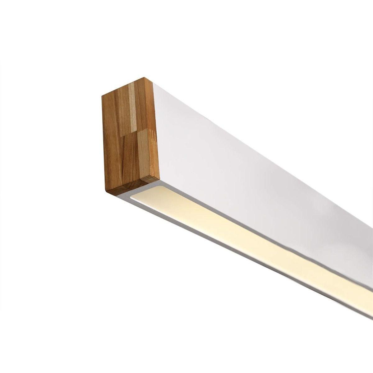 Luminária Plafon Retangular 1 Lâmp. 125cm Alumínio Branco e Madeira Arky