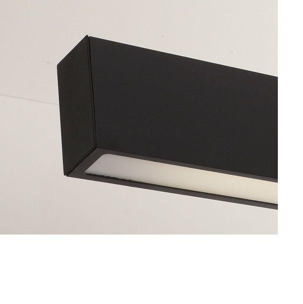 Luminária Plafon Retangular 1 Lâmp. 125cm Alumínio Preto Arky