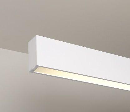 Luminária Plafon Retangular 1 Lâmp. 65cm Alumínio Branco Arky