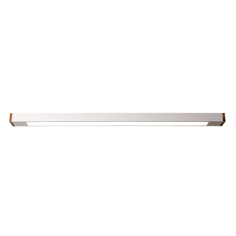 Luminária Plafon Retangular 2 Lâmp. 125cm Alumínio Branco e Madeira Arky