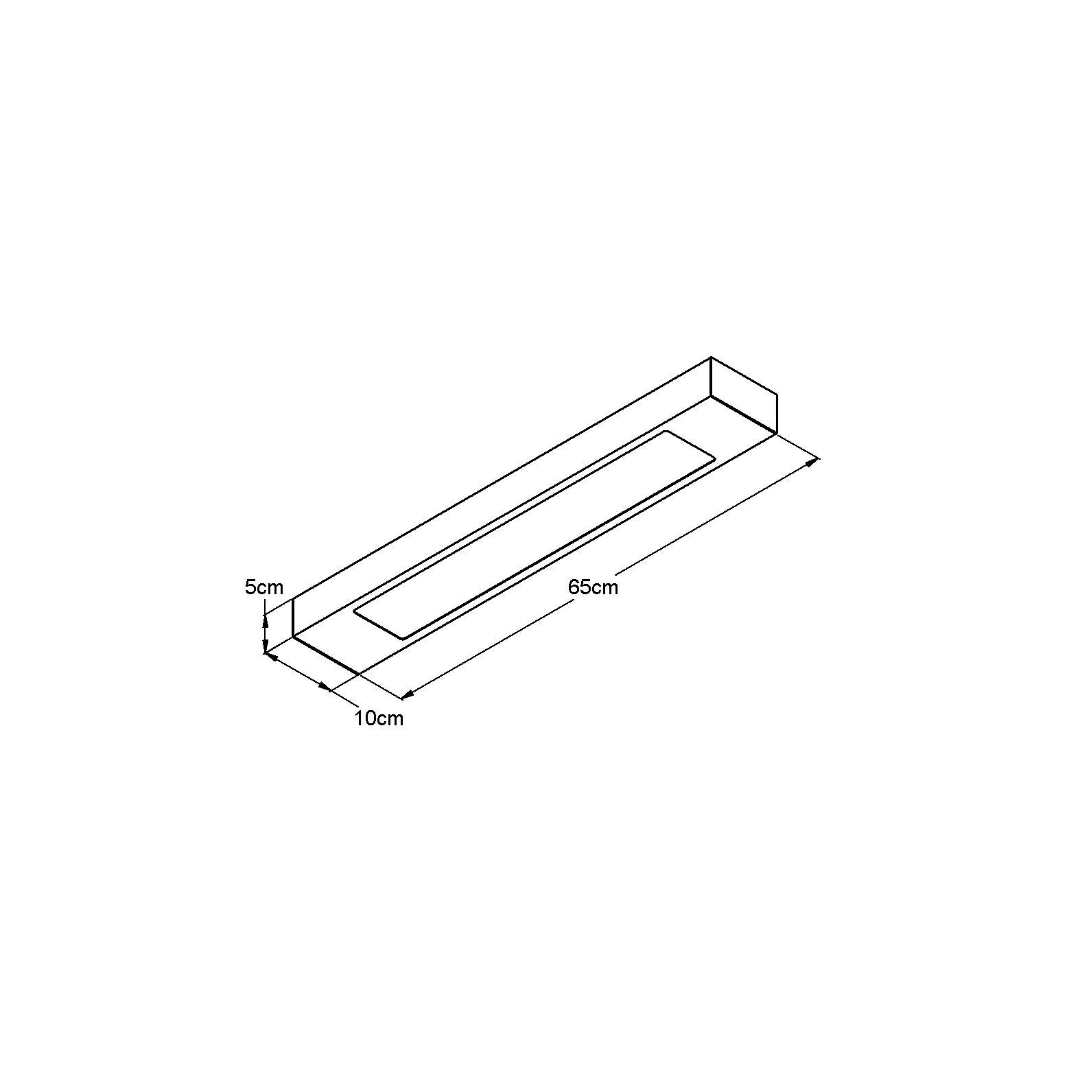 Luminária Plafon Retangular 2 Lâmp. 65cm Alumínio Preto Arky