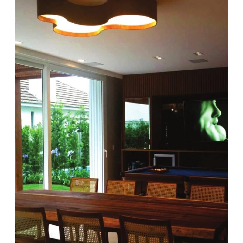Luminária Plafon Semi Cilíndrico 100cm em Madeira Imbuia