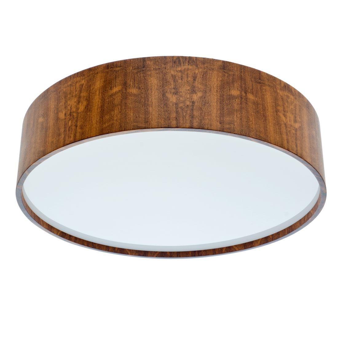 Luminária Plafon Sobrepor Redondo 80x17cm Madeira Imbuia