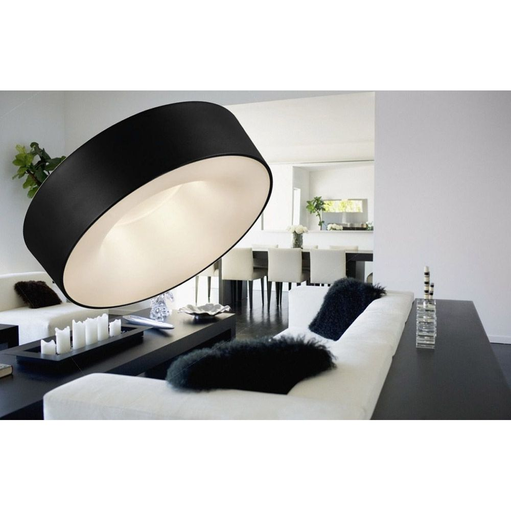 Luminária Plafon Sushi 40cm Preto LED 2700k Quente Taschibra