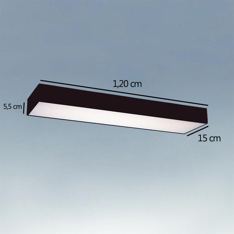 Plafon Luminária Retangular LED 46w 6000k 120cm Alumínio Preto 127v
