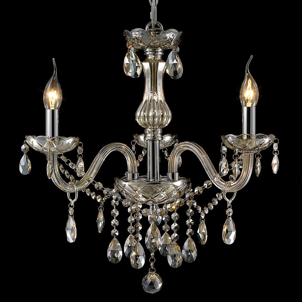 Lustre de Cristal e Vidro 3 Braços Conhaque Mais Luz