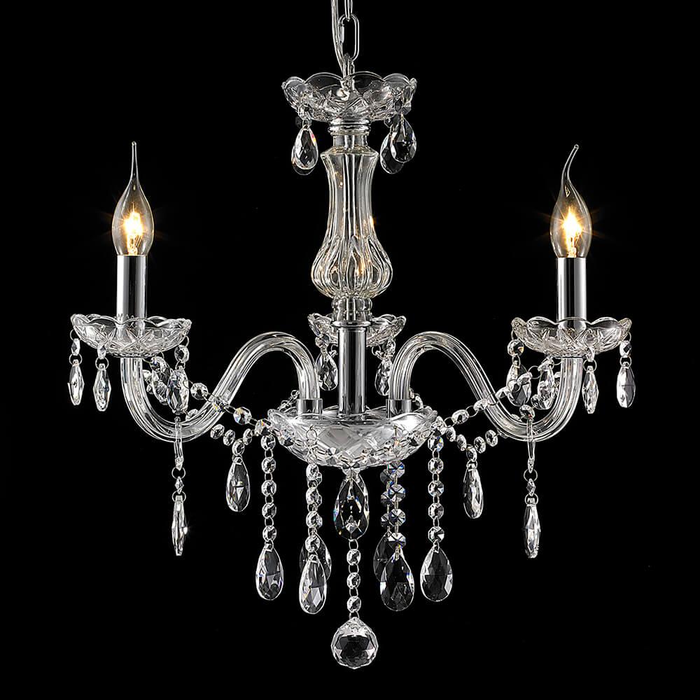 Lustre de Cristal e Vidro 3 Braços Translúcido Mais Luz