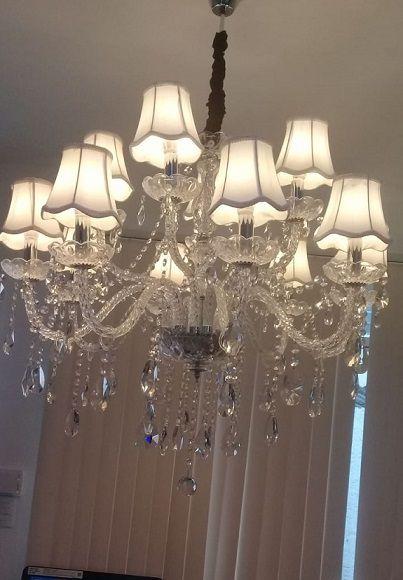 Lustre de Cristal 12 Braços com Cúpula Maria Thereza Transparente BL