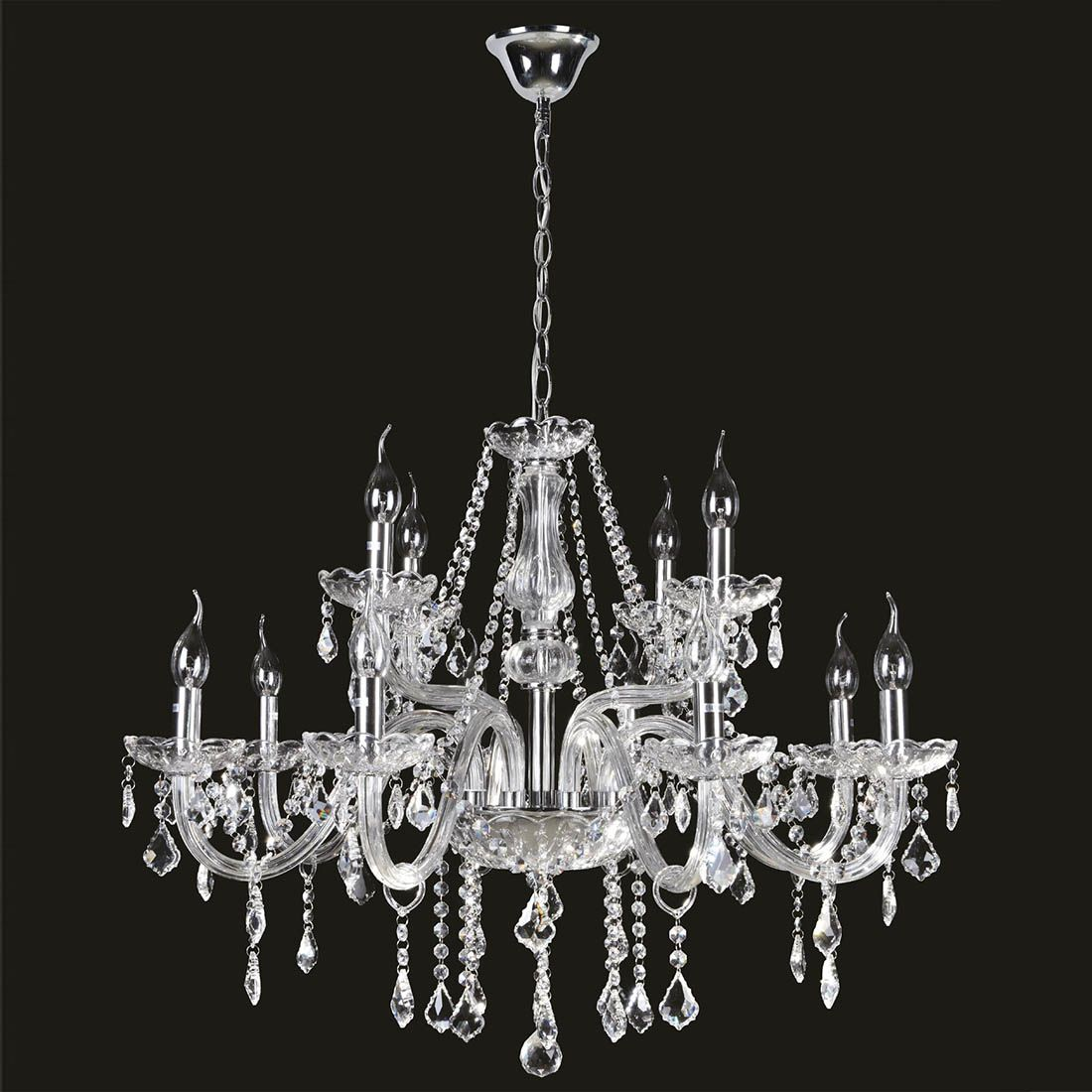 Lustre de Cristal Maria thereza 12 Braços Cristal Transparente BL