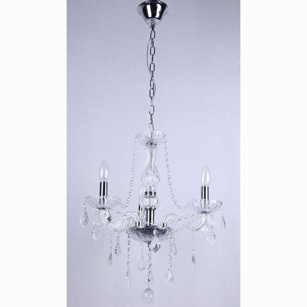 Lustre de Cristal Maria Thereza 3 Braços Transparente BL